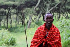 Masai Man posing with his spur stock photography