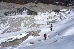 Ngozumba Glacier, Sagarmatha National Park, Nepal,. Hiking group on a  trail. Ngozumba Glacier, Sagarmatha National Park, Nepal, Himalayas Stock Images