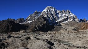 Ngozumpa glacier covered by moraines Stock Photography