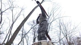 Ângulo da floresta do inverno do tiro ao arco baixo video estoque
