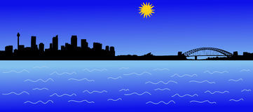 Ângulo largo da skyline de Sydney Fotos de Stock Royalty Free