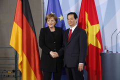 Nguyen Tan Dung, Angela Merkel Royalty Free Stock Photography