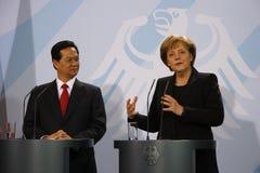 Nguyen Tan Dung, Angela Merkel Royalty Free Stock Photography