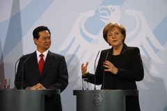 Nguyen Tan Dung, Angela Merkel Stock Photo