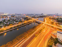 Nguyen Van Cu bridge and Tau Hu canal Ho Chi Minh city Royalty Free Stock Photography