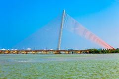 Nguyen Van Troi Tran bridge. Cau Nguyen Van Troi Tran Thi Ly Bridge is a bridge spanning the Han River in Danang city in Vietnam stock photo