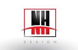 NH N H Logo Letters avec des couleurs et le bruissement rouges et noirs Photo libre de droits