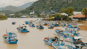 Nha Trang Bay with ships and boats. Central Vietnam. stock video