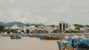 Nha Trang Bay with ships and boats. Central Vietnam. Nha Trang city panorama. Bay with ships and boats. Central Vietnam. Nha Trang city panorama. Shot in 4K stock footage