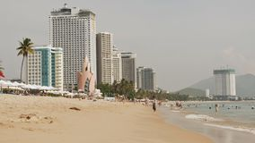 Nha Trang beach with many vacationing tourists. Vietnam. Timelapse royalty free stock images