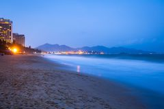 Nha Trang beach at night, Vietnam Royalty Free Stock Images