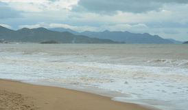 Nha Trang beach in the rainy day Stock Photography