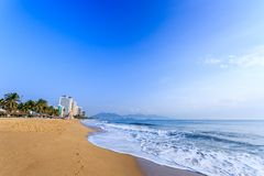 Nha Trang City Beach, Early Morning Royalty Free Stock Photos