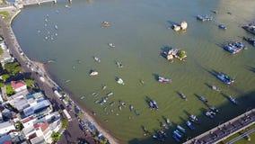 Nha Trang city bridge boat sea aerial stock video