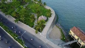 Nha Trang city bridge boat sea aerial stock video footage
