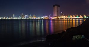 Nha Trang City Coastline By Night Royalty Free Stock Photos