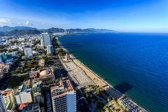 Nha Trang city panorama with sea and mountains Vietnam Royalty Free Stock Photos