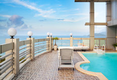Swimming pool in front of sea, Nha Trang, Vietnam stock images