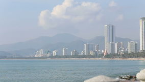 Nha-Trang resort city on seacoast in Vietnam. At background of mountains stock footage