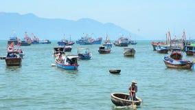 Nha Trang sea and fishing boats stock video footage