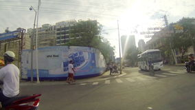 NHA TRANG, VIETNAM - APRIL 27, 2015: traffic and people in downtown district POV stock video