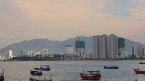 Asian Vacation Resort Nha Trang Vietnam HD Panoramic. Nha Trang, Vietnam, Asia July 3 2018. Vietnamese holiday resort beach front skyline scene with colourful stock video