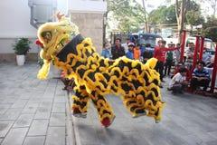 NHA TRANG, VIETNAM - 15 DE FEBRERO DE 2016: La gente no identificada baila con el león chino en el distrito de la compañía durant Imágenes de archivo libres de regalías
