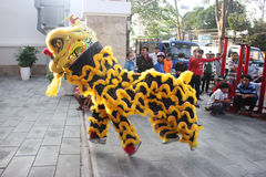NHA TRANG, VIETNAM - FEBRUARY 15, 2016: Unidentified people dance with chinese Lion at Company district during the Royalty Free Stock Images