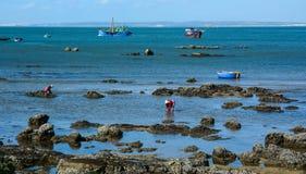 Fishing boats on sea in Nha Trang, Vietnam stock image