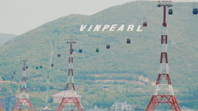 NHA TRANG, VIETNAM - OCTOBER 1, 2016: Cable car to Vinpearl amusement park in the morning sunshine to attract tourists. Cable car to Vinpearl amusement park in stock video footage