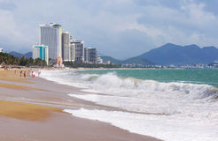 NHA TRANG, VIETNAM: View of the city beach and hotels Royalty Free Stock Image