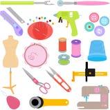 Nähende Hilfsmittel und Handwerk Stockbilder
