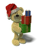 Nhi Bear with christmas-presents. Stock Photos