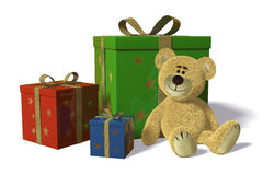 Nhi Bear with christmas-presents and birthday-pres Stock Photo