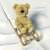 Nhi Bear coasting on the sledge. Stock Photo