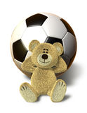 Nhi Bear relaxes with Soccer Ball Stock Photography
