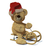 Nhi Bear on the sledge with Santa's Cap. Stock Images