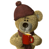 Nhi Bear with a steaming mug of tea. Stock Photos