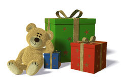 Nhi Bear With Christmas And Birthday-presents Stock Images