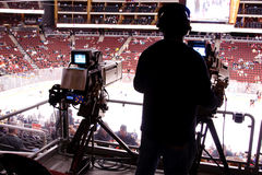 Nhl-Hockey-Spiel - Sendungs-Kameras Stockbilder