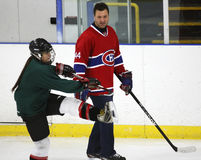 NHL Hockey Stephane Richer Teaches. Former National Hockey League star Stephane Richer instructs at a hockey clinic in Sussex, New Brunswick, Canada, on Dec. 10 Stock Image