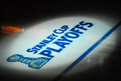 NHL Ice painted for playoffs Stock Photography