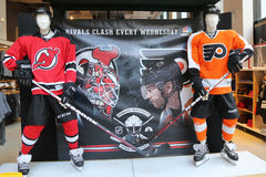The NHL shop decoration in Manhattan Royalty Free Stock Photo