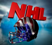 NHL text with helmet. And sky background Royalty Free Stock Photography