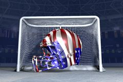 NHL text with helmet. And sky background Royalty Free Stock Photo