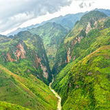 Nho Que River Valley. Panorama, this river splits 24km winding mountain long as rooted in China flows through Vietnam, which also the symbol Ha Giang Province Royalty Free Stock Photo