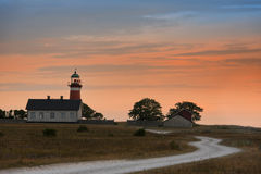 The Naerholmen Lighthouse after sunset Royalty Free Stock Image