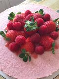 Homemade cake with strawberries and raspberries royalty free stock photos
