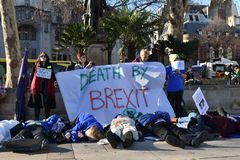 NHS Brexit Protestors, Parliament Square, London, England 15/02/2019 royalty free stock image