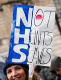 The NHS In Crisis demonstration, through central London, in protest of underfunding and privatisation in the NHS. London, England. 3rd February 2018. EDITORIAL Royalty Free Stock Images